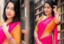 Ramya Subramanian Pink Saree Stills